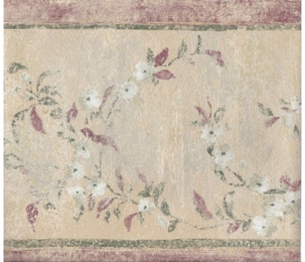 Vintage Borders Red Green Cream Floral Wallpaper Border York Wallcoverings