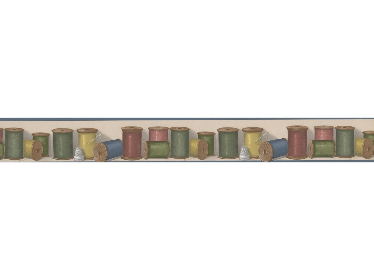Prepasted Wallpaper Borders Colorful Thread Buttonville Norwall Wall Paper Border
