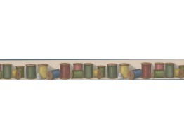 Prepasted Wallpaper Borders - Colorful Thread BUTTONVILLE NORWALL Wall Paper Border