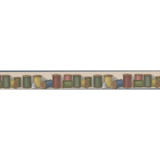 3 in x 15 ft Prepasted Wallpaper Borders - Colorful Thread BUTTONVILLE NORWALL Wall Paper Border