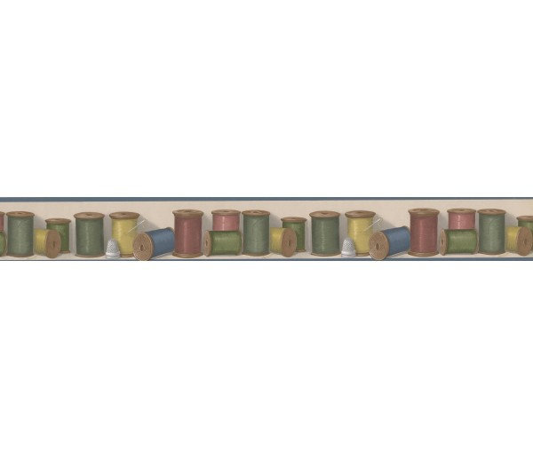 Laundry Borders Colorful Thread BUTTONVILLE NORWALL Wallpaper Border York Wallcoverings