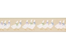 Prepasted Wallpaper Borders - DUCK PARADE CUTE BOW DUCKS Wall Paper Border