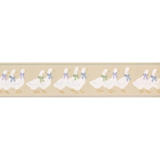5 in x 15 ft Prepasted Wallpaper Borders - DUCK PARADE CUTE BOW DUCKS Wall Paper Border