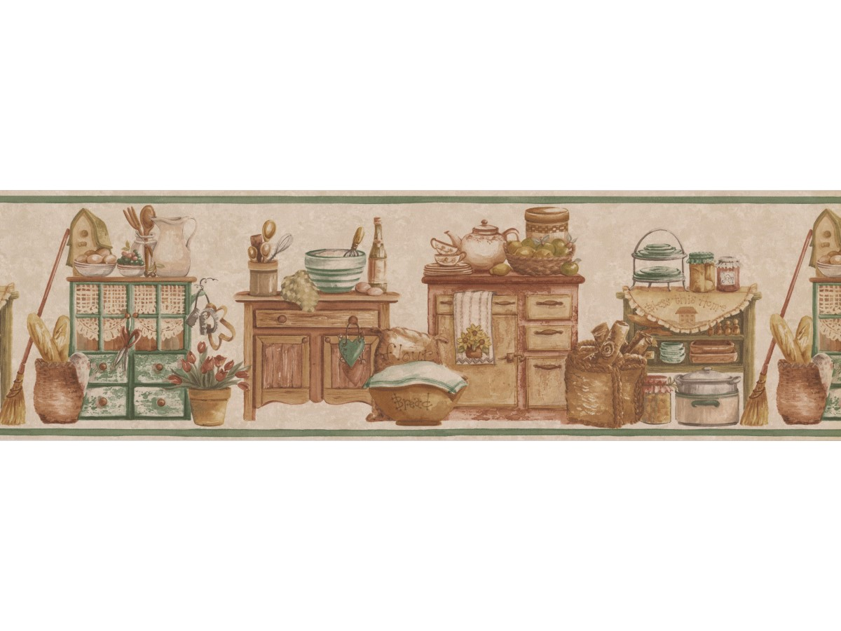 Cream Green Countrystyle Kitchen Wallpaper Border