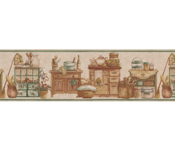 Kitchen Wallpaper Borders: Cream Green Countrystyle Kitchen Wallpaper Border
