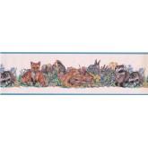 Animal Wallpaper Borders: Light Blue White Forest Animals Floral Wallpaper Border