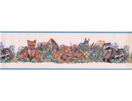 Light Blue White Forest Animals Floral Wallpaper Border