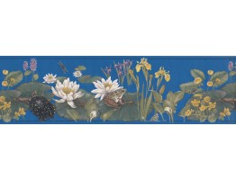 Prepasted Wallpaper Borders - White Lotus Wall Paper Border