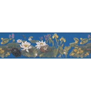 7 in x 15 ft Prepasted Wallpaper Borders - White Lotus Wall Paper Border
