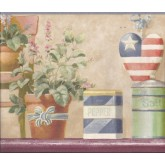 Garden Borders Blue American Flower Pots Wallpaper Border York Wallcoverings
