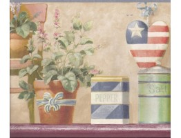 9 in x 15 ft Prepasted Wallpaper Borders - Blue American Flower Pots Wall Paper Border
