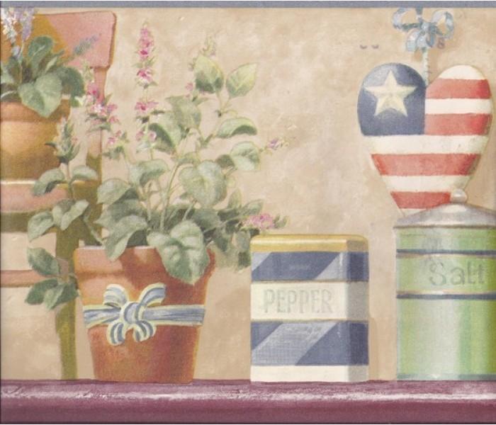 Garden Wallpaper Borders: Blue American Flower Pots Wallpaper Border