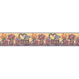 4 in x 15 ft Prepasted Wallpaper Borders - Floral Wall Paper Border BV006151