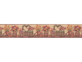 Prepasted Wallpaper Borders - Floral Wall Paper Border BV006152