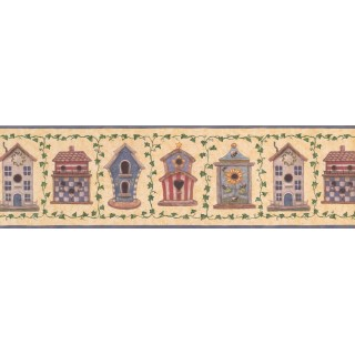 7 in x 15 ft Prepasted Wallpaper Borders - Blue Yellow American Birdhouses Wall Paper Border