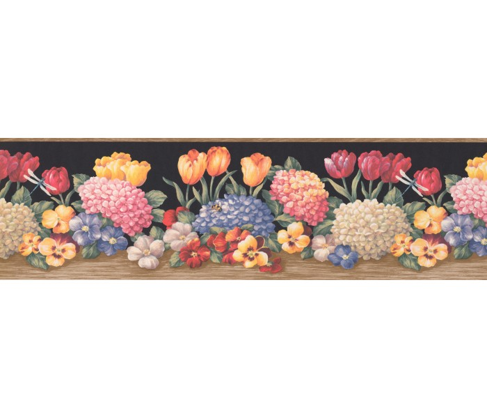 Floral Wallpaper Borders: Wooden Black Hydrangea Tulips Wallpaper Border
