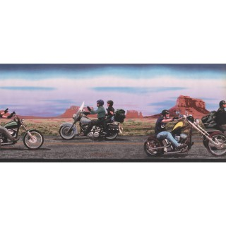 10 1/4 in x 15 ft Prepasted Wallpaper Borders - Black Rider Wall Paper Border