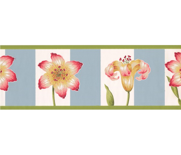 Prepasted Wallpaper Borders - Pink Petal Flower Wall Paper Border