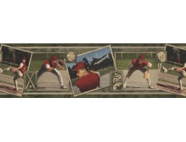 Prepasted Wallpaper Borders - SPORT BASEBALL PLAYERS Wall Paper Border