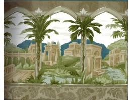 White Town Palm Trees Wallpaper Border