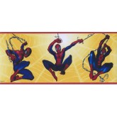 Prepasted Wallpaper Borders - Yellow Spiderman Kids Wall Paper Border