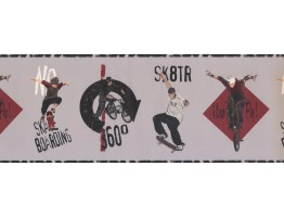 Prepasted Wallpaper Borders - Skate Boarding Kids Wall Paper Border