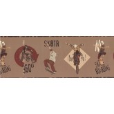 Clearance: Brown Skate Boarding Kids Wallpaper Border