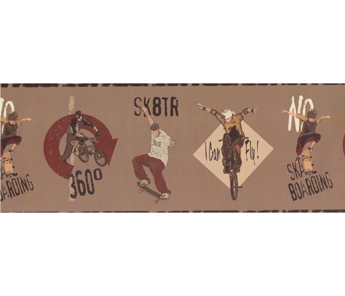 Clearance: Brown Skate Boarding Kids Wallpaper Border