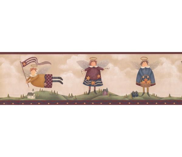 Prepasted Wallpaper Borders - Burgundy Yellow Cream Star Angels Wall Paper Border