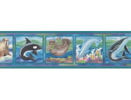 7 in x 15 ft Prepasted Wallpaper Borders - Framed White Dolphine Wall Paper Border