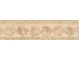 Prepasted Wallpaper Borders - Tan Sea Shells Wall Paper Border
