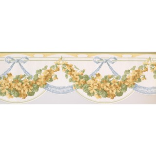 7 1/2 in x 15 ft Prepasted Wallpaper Borders - Green Yellow White Floral Vines Wall Paper Border