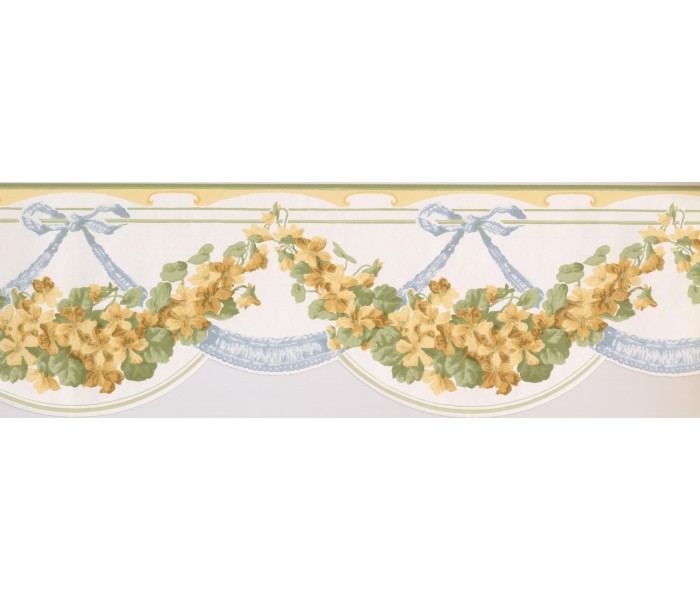 Clearance: Green Yellow White Floral Vines Wallpaper Border