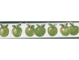 5 in x 15 ft Prepasted Wallpaper Borders - Fresh Green Apples  Wall Paper Border