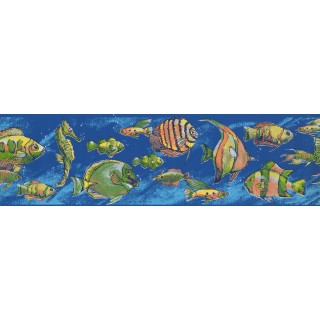 7 in x 15 ft Prepasted Wallpaper Borders - Fish Wall Paper Border CK7602