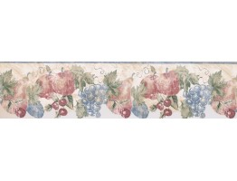 Prepasted Wallpaper Borders - Blue Cream Stenciled Fruits Wall Paper Border