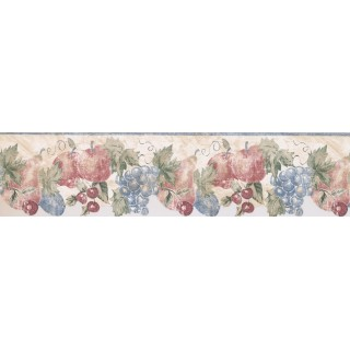 6 1/2 in x 15 ft Prepasted Wallpaper Borders - Blue Cream Stenciled Fruits Wall Paper Border