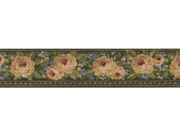 Prepasted Wallpaper Borders - Green Gold Yellow Rose Floral Wall Paper Border