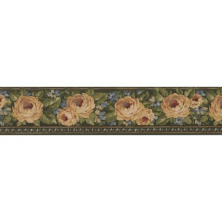 5 in x 15 ft Prepasted Wallpaper Borders - Green Gold Yellow Rose Floral Wall Paper Border