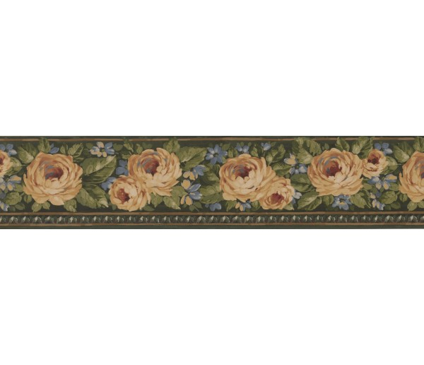 Clearance Green Gold Yellow Rose Floral Wallpaper Border