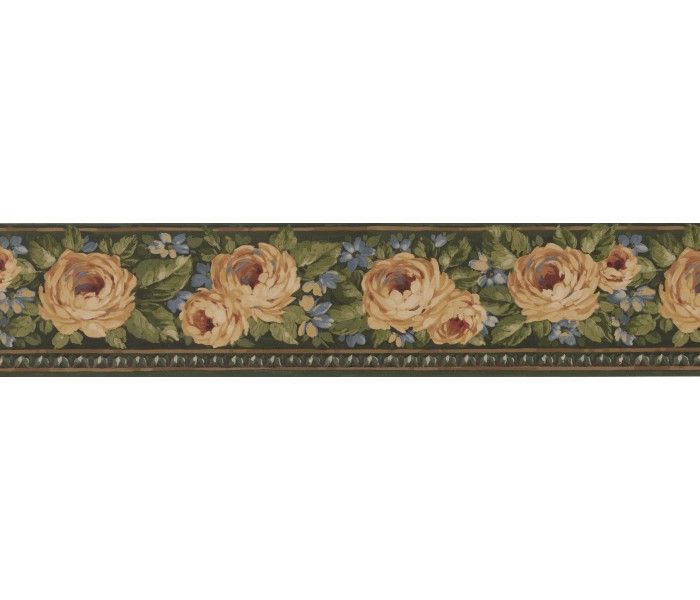 Clearance: Green Gold Yellow Rose Floral Wallpaper Border