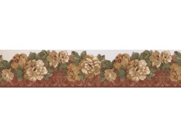 Bordo Cream Wild Roses Wallpaper Border