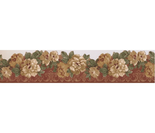 Floral Borders Bordo Cream Wild Roses Wallpaper Border
