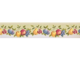 4 2/5 in x 15 ft Prepasted Wallpaper Borders - Light Green Fruits Wall Paper Border