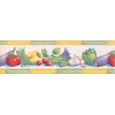 Garden Wallpaper Borders: Green Yellow Eggplant Tomatoes Peas Wallpaper Border