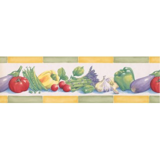 6 1/2 in x 15 ft Prepasted Wallpaper Borders - Green Yellow Eggplant Tomatoes Peas Wall Paper Border