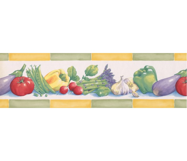 Green Yellow Eggplant Tomatoes Peas Wallpaper Border