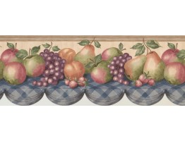 Prepasted Wallpaper Borders - Wooden Cream Pears Grapes Apples Table Wall Paper Border