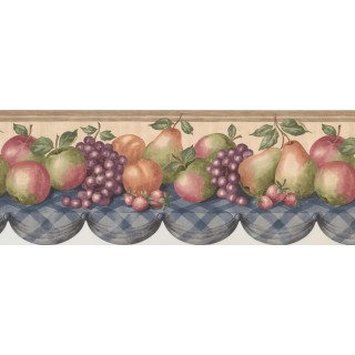 8 1/2 in x 15 ft Prepasted Wallpaper Borders - Wooden Cream Pears Grapes Apples Table Wall Paper Border