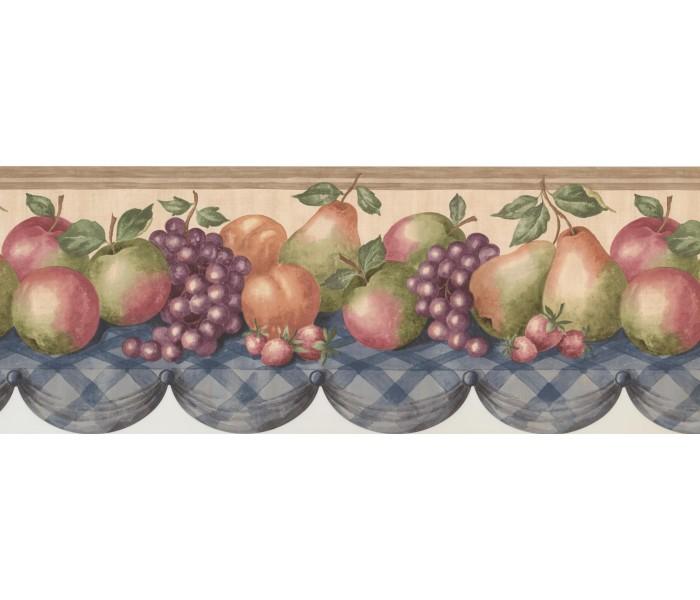 Garden Wallpaper Borders: Wooden Cream Pears Grapes Apples Table Wallpaper Border